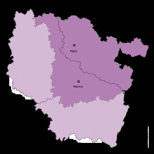 Carte de la présence du Dava Nancy-Metz en Lorraine.